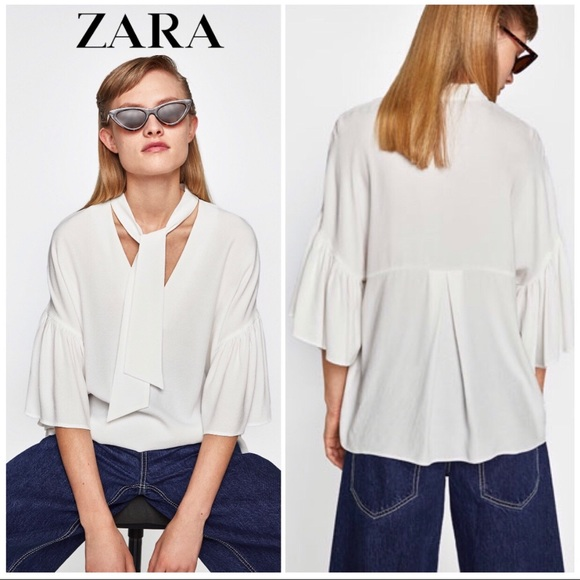 3f99ae3ebee2fa Zara Tops   White Crepe Tie Neck Ruffle Sleeve Blouse   Poshmark